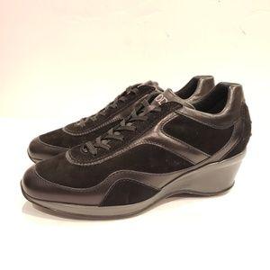 "Tod's Sporty Black ""Flip Up"" Wedge Sneakers"